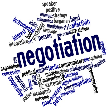 guile: Abstract word cloud for Negotiation with related tags and terms Stock Photo