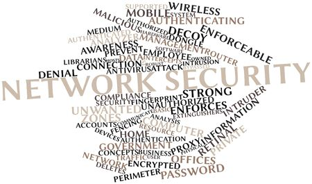retinal: Abstract word cloud for Network security with related tags and terms Stock Photo
