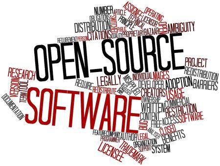 Abstract word cloud for Open-source software with related tags and terms photo