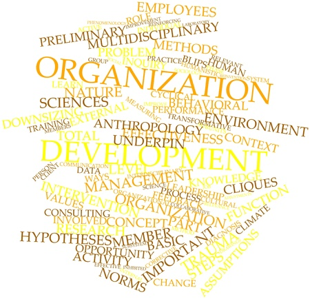 subunits: Abstract word cloud for Organization development with related tags and terms Stock Photo