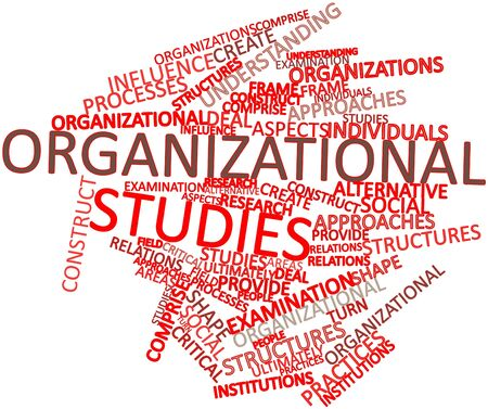 comprise: Abstract word cloud for Organizational studies with related tags and terms Stock Photo