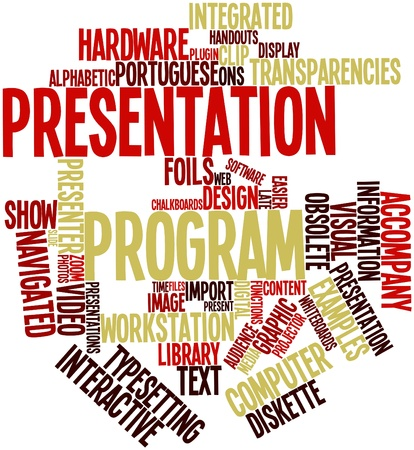 analogy: Abstract word cloud for Presentation program with related tags and terms Stock Photo
