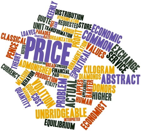 exerted: Abstract word cloud for Price with related tags and terms Stock Photo