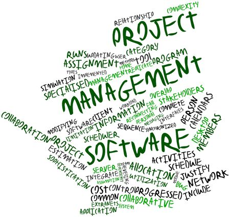 considerably: Abstract word cloud for Project management software with related tags and terms Stock Photo