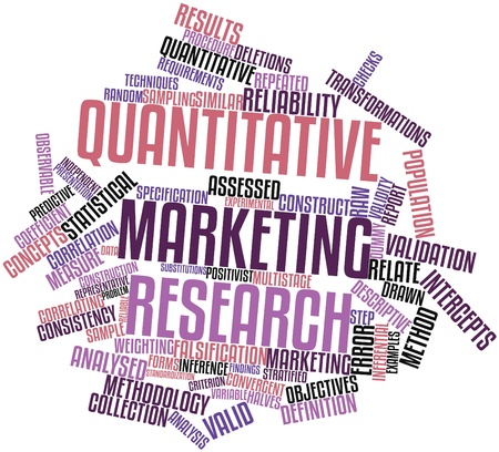 correspond: Abstract word cloud for Quantitative marketing research with related tags and terms Stock Photo