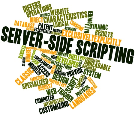 scripting: Abstract word cloud for Server-side scripting with related tags and terms Stock Photo