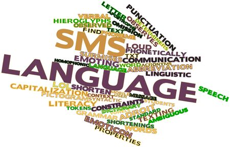 lots: Abstract word cloud for SMS language with related tags and terms Stock Photo