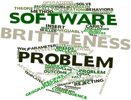 undesirable: Abstract word cloud for Software brittleness problem with related tags and terms Stock Photo