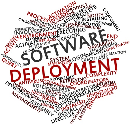 deployment: Abstract word cloud for Software deployment with related tags and terms Stock Photo