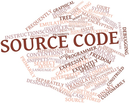 arbitrary: Abstract word cloud for Source code with related tags and terms Stock Photo