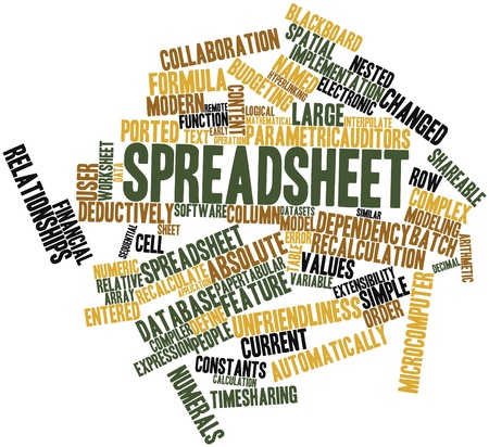 Abstract word cloud for Spreadsheet with related tags and terms Stock Photo - 16414306