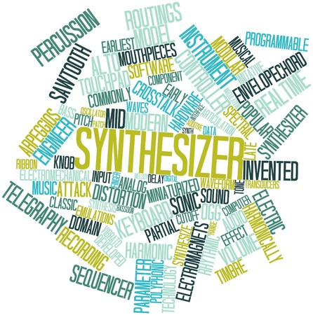 Abstract word cloud for Synthesizer with related tags and terms Stock Photo - 16414052