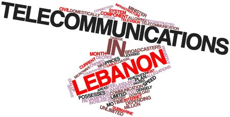 possesses: Abstract word cloud for Telecommunications in Lebanon with related tags and terms