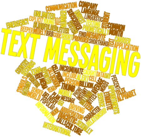 Abstract word cloud for Text messaging with related tags and terms Stock Photo - 16414017