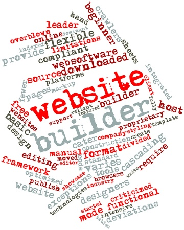 exceptions: Abstract word cloud for Website builder with related tags and terms