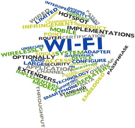 limitations: Abstract word cloud for Wi-Fi with related tags and terms Stock Photo