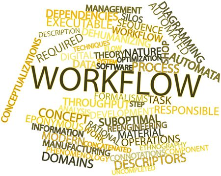 qualitatively: Abstract word cloud for Workflow with related tags and terms