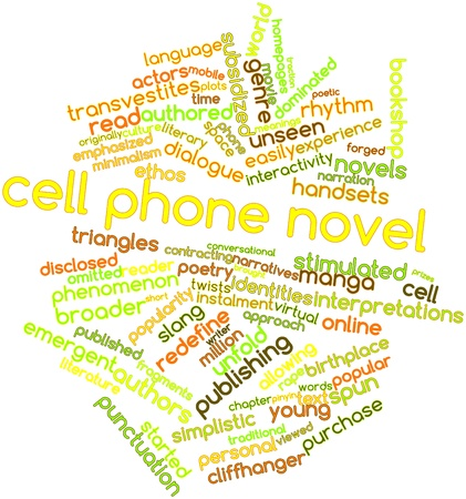 novel: Abstract word cloud for Cell phone novel with related tags and terms Stock Photo