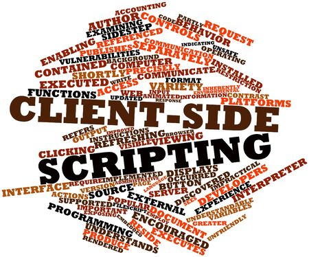 Abstract word cloud for Client-side scripting with related tags and terms Stock Photo - 16414156