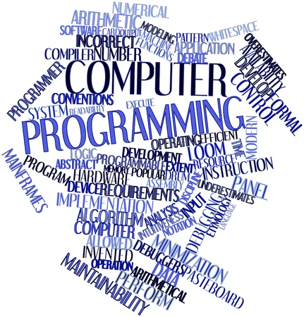 maintainability: Abstract word cloud for Computer programming with related tags and terms Stock Photo