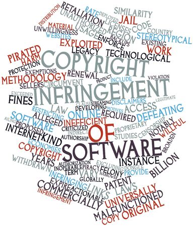alleged: Abstract word cloud for Copyright infringement of software with related tags and terms