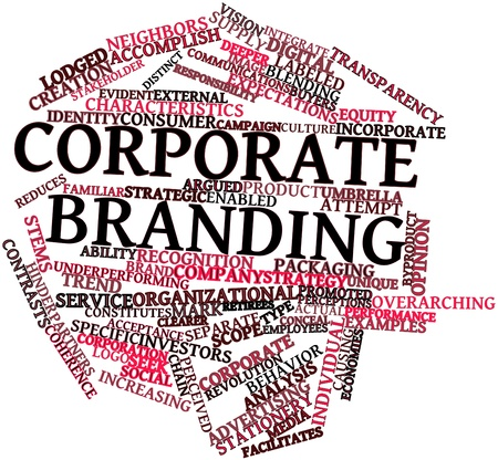 unique characteristics: Abstract word cloud for Corporate branding with related tags and terms