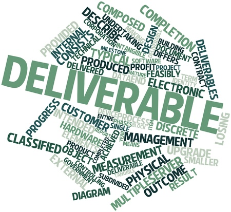 deliverables: Abstract word cloud for Deliverable with related tags and terms Stock Photo
