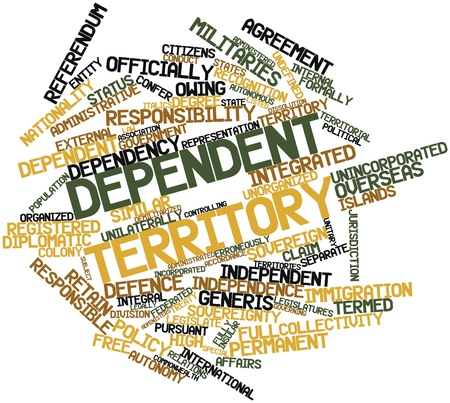 insular: Abstract word cloud for Dependent territory with related tags and terms Stock Photo