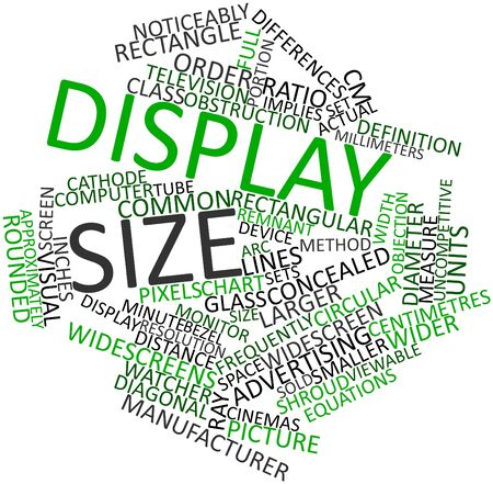 implies: Abstract word cloud for Display size with related tags and terms Stock Photo