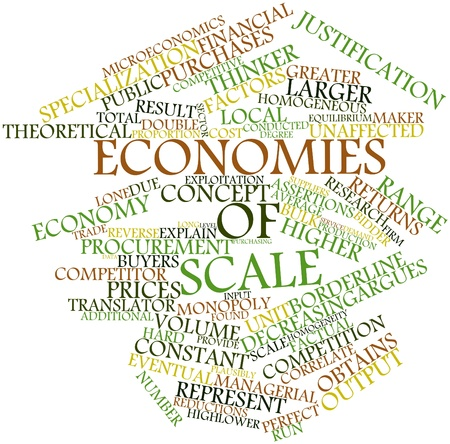 Abstract word cloud for Economies of scale with related tags and terms Stock Photo - 16414080
