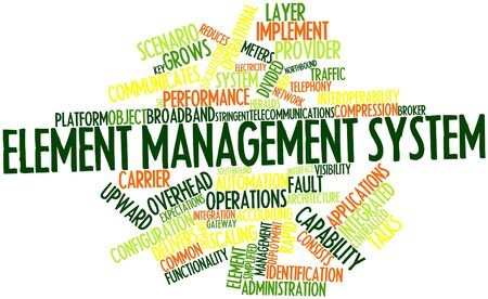 heralds: Abstract word cloud for Element management system with related tags and terms Stock Photo