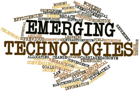 denote: Abstract word cloud for Emerging technologies with related tags and terms Stock Photo