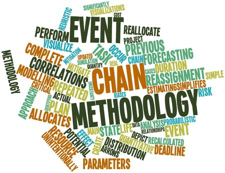 quantitative: Abstract word cloud for Event chain methodology with related tags and terms Stock Photo