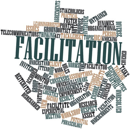 client meeting: Abstract word cloud for Facilitation with related tags and terms