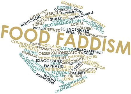 idiosyncratic: Abstract word cloud for Food faddism with related tags and terms Stock Photo