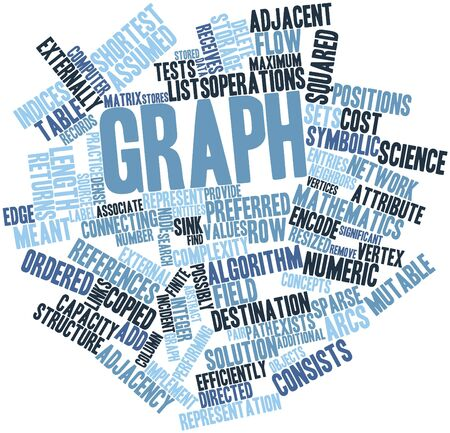 vertices: Abstract word cloud for Graph with related tags and terms Stock Photo