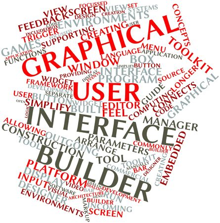 Abstract word cloud for Graphical user interface builder with related tags and terms Stock Photo - 16414142