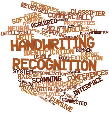 inteligible: Nube palabra abstracta para el reconocimiento de escritura a mano con las etiquetas y términos relacionados