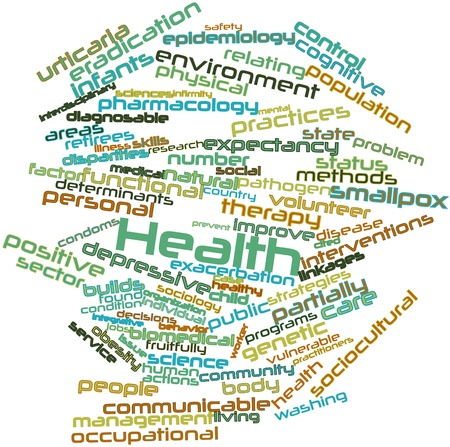 interdependent: Abstract word cloud for Health with related tags and terms Stock Photo