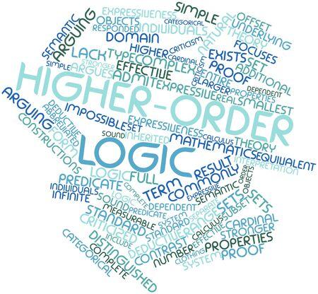 logica: Nube palabra abstracta para la lógica de orden superior con las etiquetas y términos relacionados