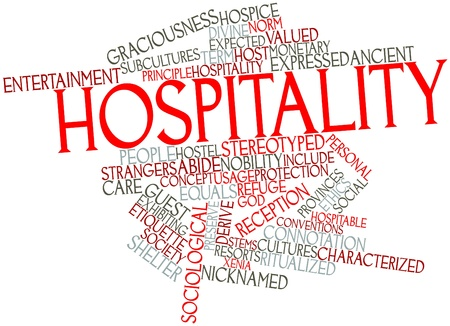 derive: Abstract word cloud for Hospitality with related tags and terms Stock Photo