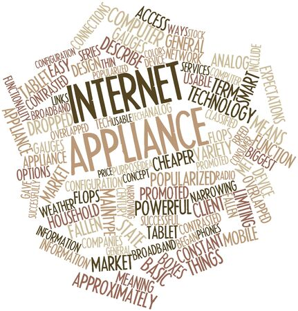 popularized: Abstract word cloud for Internet appliance with related tags and terms Stock Photo
