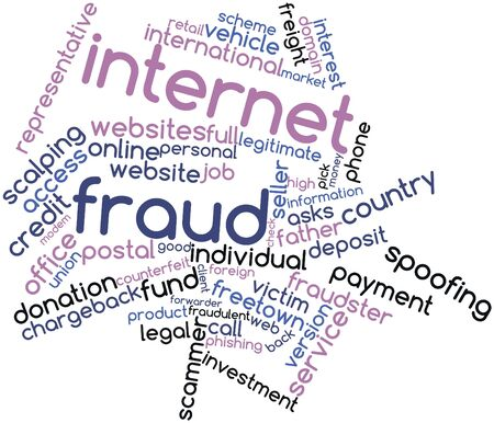 scammer: Abstract word cloud for Internet fraud with related tags and terms Stock Photo