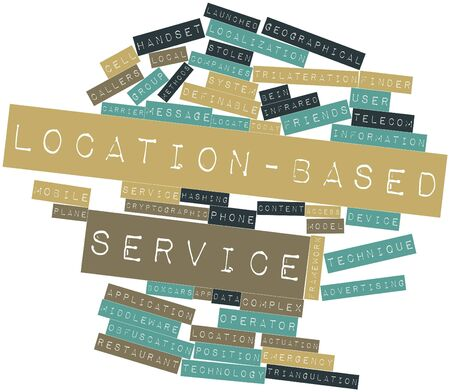 complex system: Abstract word cloud for Location-based service with related tags and terms Stock Photo