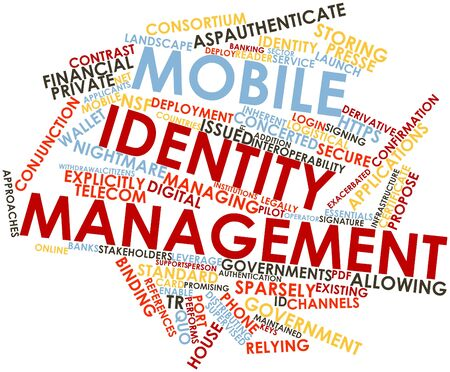 financial institutions: Abstract word cloud for Mobile identity management with related tags and terms Stock Photo