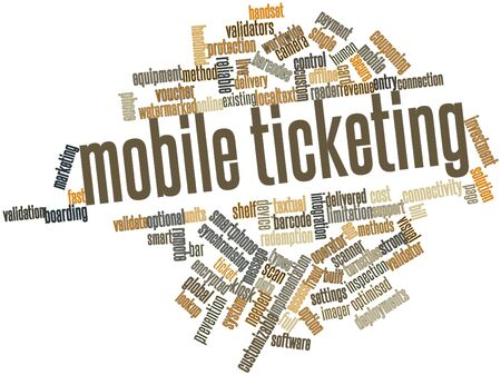 lookup: Abstract word cloud for Mobile ticketing with related tags and terms Stock Photo
