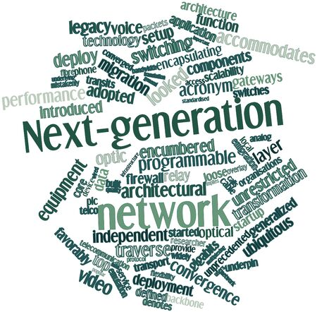 implies: Abstract word cloud for Next-generation network with related tags and terms Stock Photo