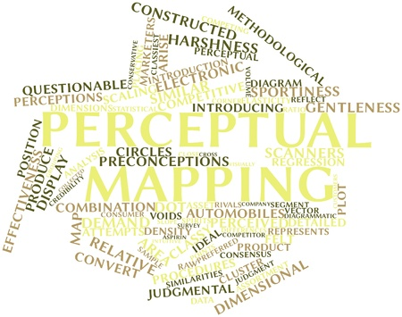 perceptual: Abstract word cloud for Perceptual mapping with related tags and terms Stock Photo