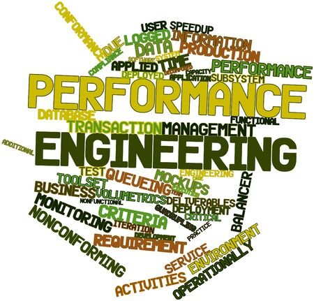 deliverables: Abstract word cloud for Performance engineering with related tags and terms Stock Photo