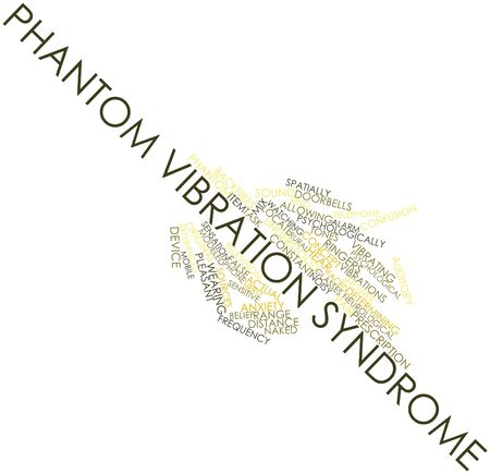 vibration: Abstract word cloud for Phantom Vibration Syndrome with related tags and terms Stock Photo